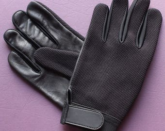 Leather Mesh soft Police search gloves Retro style