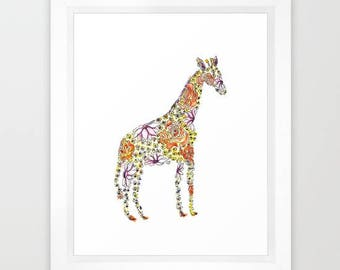 Floral Giraffe, Animals, Zoo Animals, Flowers, Kids Art, Nursery Art, 8x10, Giclee Print