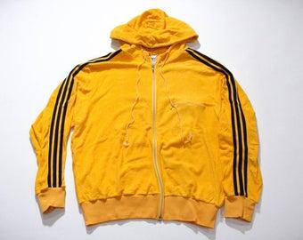 Vintage 80s Adidas Terry Cloth Zip-up Hoodie