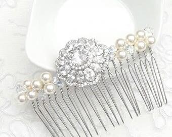 Bridal comb, bridal hair comb, crystal bridal hair, rhinestones haircomb, bridal adornment, CZ bridal comb, marriage comb, wedding haircomb