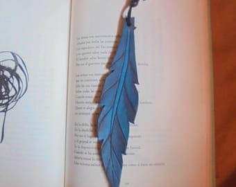 Bookmarks made of leather, natural blue feather