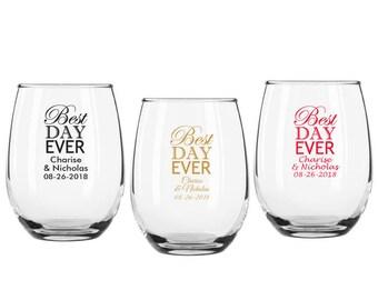 9 oz u0027best day everu0027 stemless wine glasses set of 12