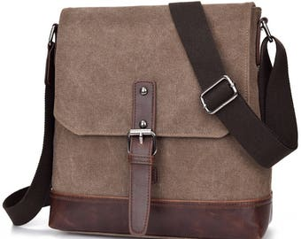 Leather and Canvas Messenger Bag