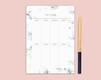 Marble planner, weekly planner printable, planner insert, planner refill, cute planner, weekly planner pad, minimal planner, a4, a5, letter