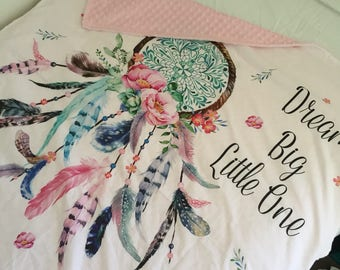 "Dream Catcher minky cot blanket ""dream big little one"""