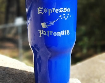 Espresso patronum laser etched stainless steel tumbler harry potter coffee cup RTIC