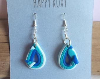 Handmade teardrop shape blue shades Dangle Statement  Earrings,  Polymer Clay Jewellery