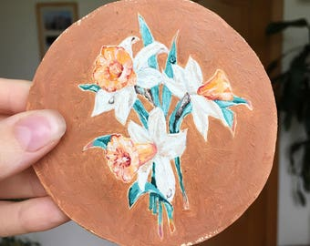 Daffodil Painting Oil Canvas / Tiny oil painting / Floral Painting on Canvas / Round Painting Oil
