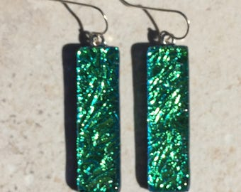 Dichroic Fused Glass Earrings  - Green Crinkle Earrings with Solid Sterling Ear Wires