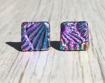Dichroic Fused Glass Stud Earrings - Pink, Purple and Blue Starburst Texture Studs with Solid Sterling Posts
