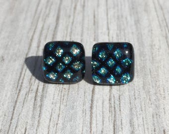 Dichroic Fused Glass Stud Earrings - Blue Yellow Dichroic Square Pattern on Black Studs with Solid Sterling Silver Posts