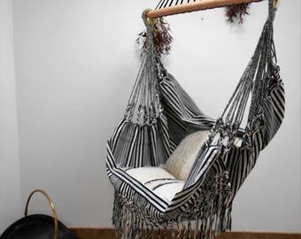 black and white 100  cotton hammock chair hammock chair   etsy  rh   etsy