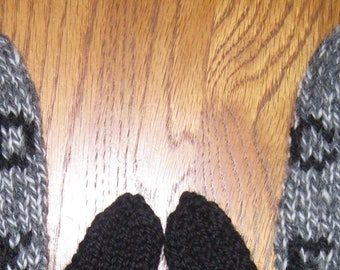 Cold as F**k Mittens Hand Knit Gray Marl Black Wool Womans Mittens Free US Shipping