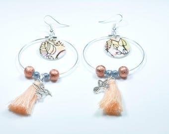 Earrings orange and silver hummingbird