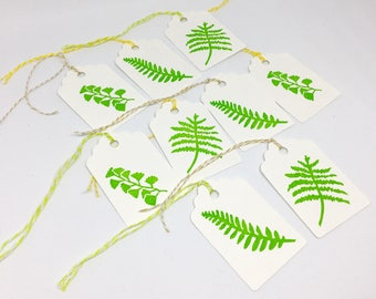 Fern gift tags, with baker twine, birthday tags, christmas tags, foliage tags, hand printed tags, place cards, wedding tags, lot of 9