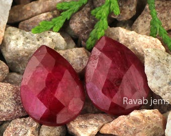 Brilliant Ruby Faceted Loose Gemstone   Cabochon pear Loose Gemstone  Ruby Cabochon pear Gemstone 12x16mm  AAA Quality 2-Pcs