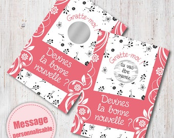 Scratch pregnancy announcement card: you're going to be Grandma ____ personalized hidden message