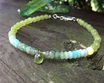 Sweet in Green Opal - green gemstone Bracelet -Tiny Green Stone Beaded Bracelet - Peridot - Teardrop faceted gemstone charm - Back to