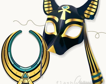 Printable mask etsy for Egyptian masks templates