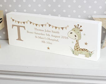 Personalised Giraffe Mantel Block, Personalised Mantel Block, Baby Name, New Baby Gift, Personalised Baby Gift, Giraffe Gift