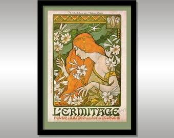 L'ermitage, Revue Illustree by Paul Berthon Circa 1897 ~ Art Nouveau ~ Reproduction Print