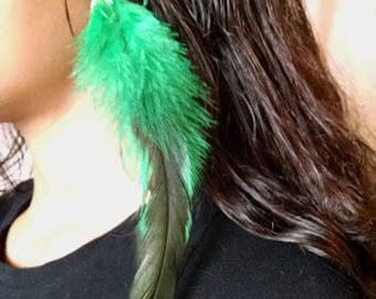 Green Feather Hair Barrette Clip Extension