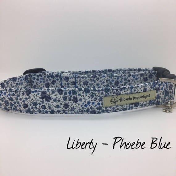 Liberty Dog Collar, or, Liberty Dog Lead, Phoebe Blue, Floral Dog Collar, Blue Floral Collar, Dog Collar UK