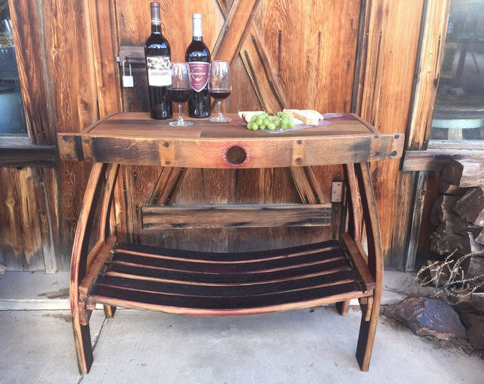 Featured listing image: Wine Barrel Table-Living Room Table-Bistro Table-Wine Table-Barrel Table-Wine Room Table-Entryway Table-Wine Decor-Stave Table-Wine Station