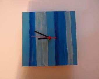 Blue stripe Hand made quartz wall clock