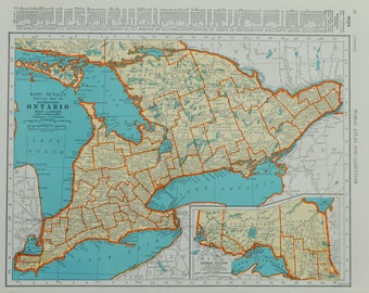 1942 Ontario Map - Vintage Map - Mid Century Map - Antique Ontario Canada Map - Vintage Ontario Map - Canada Map - Antique Map - 40/070817