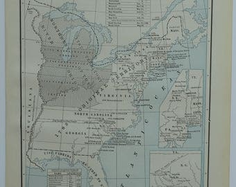 Antique Us Map Etsy - Old us map