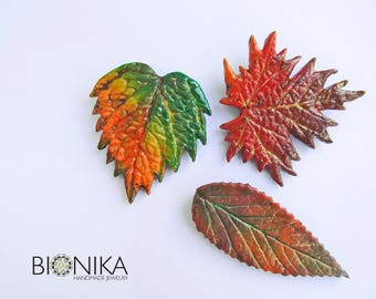 Autumn leaves Colorful sheet Maple Sheet brooch polymer clay brooch Autumn Brooch Autumn jewelry Leaf pin Red orange leaf Christmas Gift