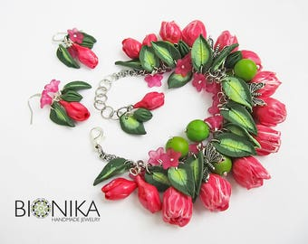 Floral jewelry set pink flowers tulips Flowers bracelet with butterflies polymer clay bracelet Floral earrings clay flowers handmade jewelry