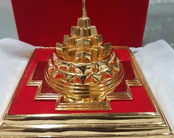 Powerful Maha Meru yantra, 4 x4 inch, beautiful, gold plated