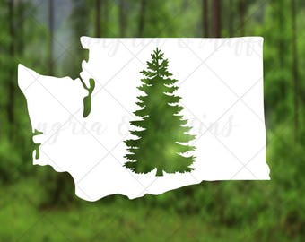 Washington State Evergreen tree - car, window, laptop, tablet decal - pnw love, pnw pride, pnw decal, Washington State decal, WA Love