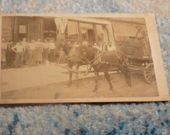 NICE Old WEST 1800's Cabinet Card Image - Store Front - Creamery and Dairy