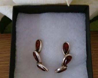 Vintage Silver Tone & Amber Teardrop Earrings - Boxed