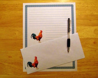 Rooster Writing Paper - Lined Stationery Set With Envelopes - Snail Mail - Pen Pal Gifts - Country Living Stationary