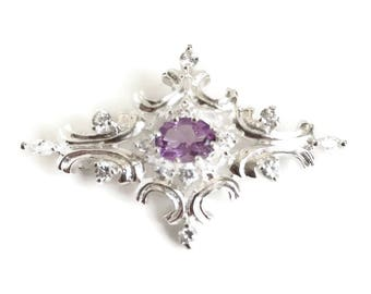 Sterling Silver and Amethyst Brooch with Cubic Zirconia