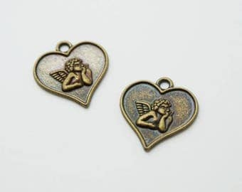 SET of 6 charms heart Angel bronze (T25)