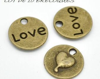 Set of 10 heart circle charm love bronze (A26)