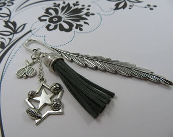 Bookmark gift (for your evening reading) sport tassel and letter choice name