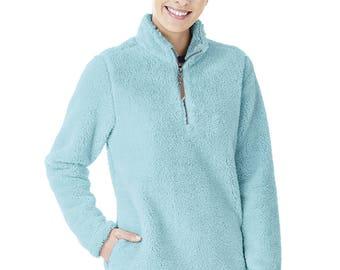 Charles River Monogrammed 1/4 zip pullover, Charles River Sherpa pullover, Charles River Newport Fleece, Fleece Sherpa Pullover