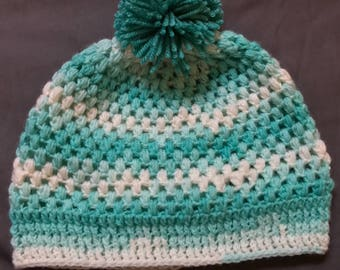 Puff Stitch Mint and Cream Woman's Beanie