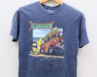 Vintage MICKEY MOUSE Walt Disney Cartoon Blue Tee T Shirt Size S