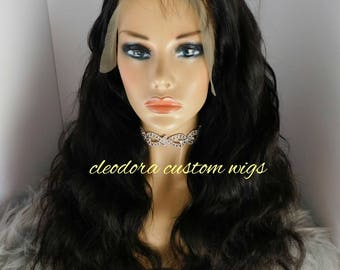 Wig Fendi/Handmade Custom Unit/100%Unprocessed grade 7a Brazilian Virgin Human Hair/Bodywave texture