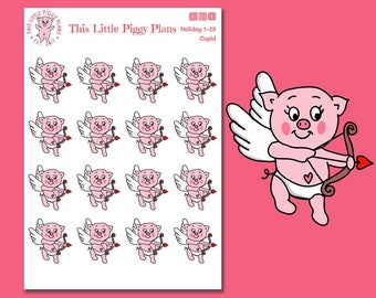 Cupid Oinkers - Valentine's Day Planner Stickers - Holiday Stickers - Valentine - Love Stickers - Planner Stickers [Holiday 1-29]