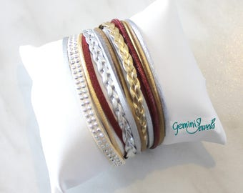 Leather Bracelet silver-Burgundy-gold belt sorter