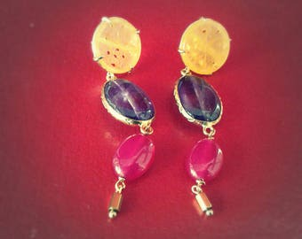 Silver earrings and colored stones