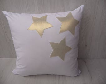 Gold star pillow,gold stars pillow case,white pillow cover20''/20'',nursery pillow,gold and white,pillow cover,cushion,nusery decor,case